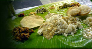 Kerala traditional Food Served in Bannana Leaves